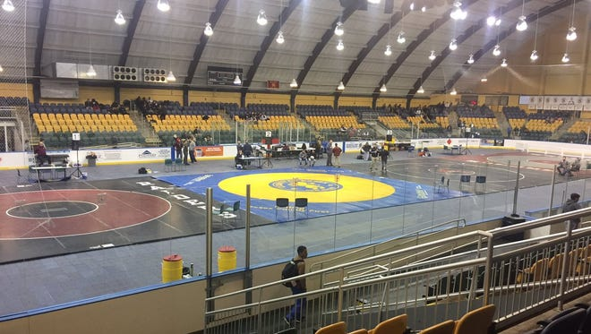 The mats at Codey Arena in West Orange for the annual Essex County wrestling tournament.