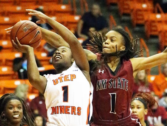 UTEP guard Roeshonda Patterson, 1, gets the ball deflected