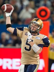 Winnipeg quarterback Drew Willy throws a pass against Toronto in 2014.