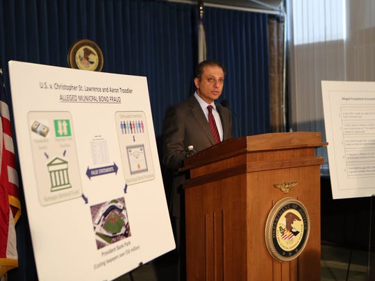 U.S. Attorney Preet Bharara discusses the arrest of Ramapo Supervisor Christopher St. Lawrence and a former top lieutenant on charges tied to the financing of the town's controversial baseball stadium through its economic development agency in New York City on Thursday.