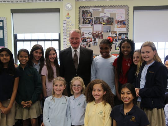 Some of the Kent Place School Fifth Graders with Congressman Leonard Lance.