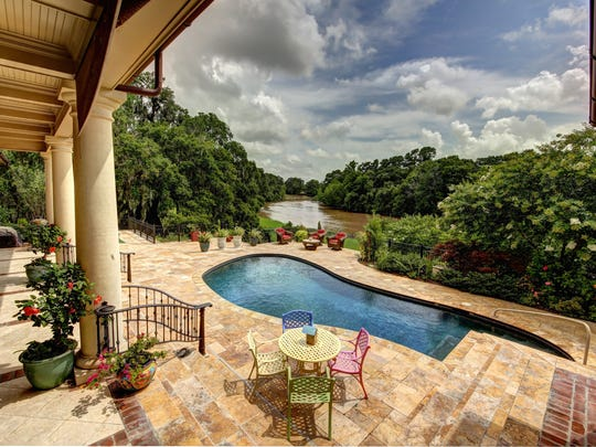 A view of the pool and the Vermilion River from the