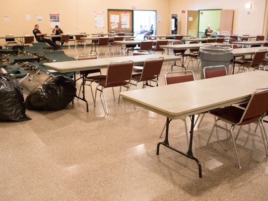 This Advertiser file photo shows the common area at the Red Cross shelter at the Heymann Center in Lafayette.