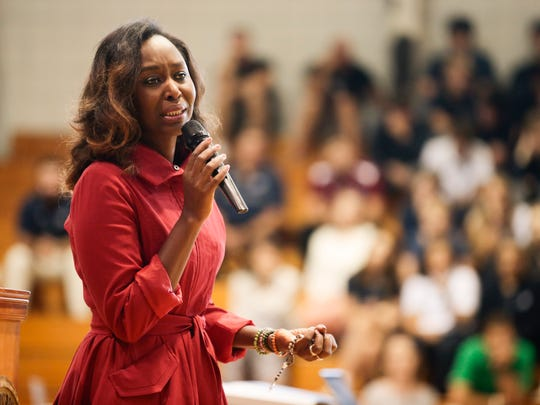 "Immaculee Ilibagiza, a Rwandan genocide survivor and New York Times best-selling author of ""Left to Tell,"" speaks to St. Thomas More students Sept. 21, 2016 in Lafayette."