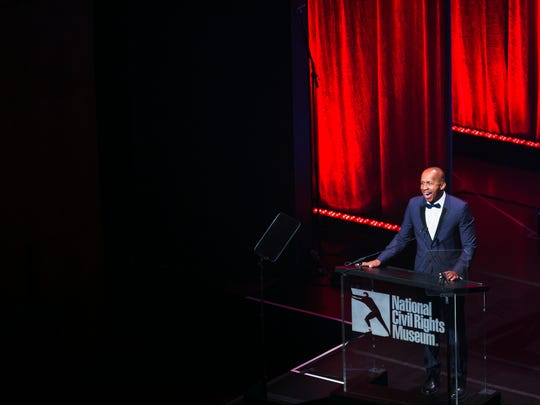 October 20, 2016 - Attorney and social justice activist Bryan Stevenson, founder and director of the Equal Justice Initiative, delivers a speech after receiving a Freedom Award during the 25th Freedom Award ceremony at the Cannon Center for the Performing Arts on Thursday. The event was hosted by the National Civil Rights Museum.