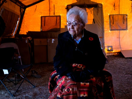 Marcella LeBeau, a World War II U.S. Army nurse veteran and member of the Cheyenne River Sioux Nation, speaks about the significance of the fight against the Dakota Access Pipeline at the Oceti Sakowin campground near Cannon Ball, N.D. on Friday, Nov. 11, 2016.