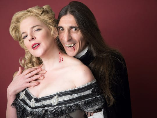 Miranda McGee as Lucy and Giles Davies as Dracula in