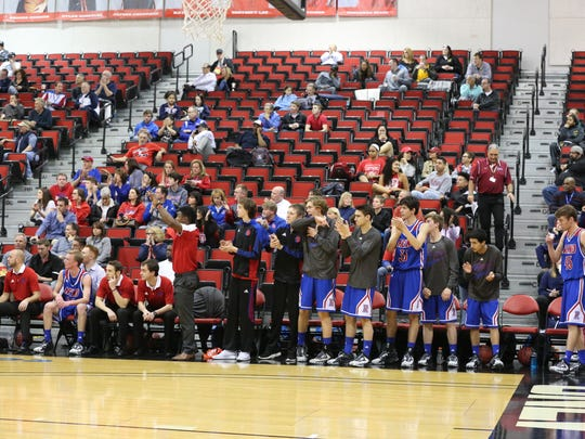The Reno bench watches the game against Bishop Gorman