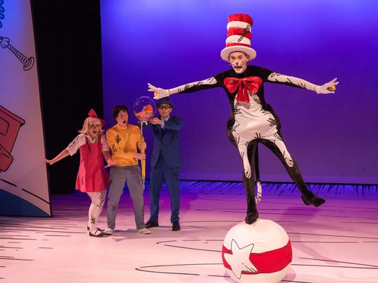"""The Children's Theatre of Cincinnati opens its new Showtime Series with director Deondra Kamau Means' production of """"Dr. Seuss's The Cat in the Hat."""" Featured in the show are (from L) Kalie Kaimann as The Girl, Kelcey Steele as The Boy, Rhys Boatwright as The Fish and Adam Zeph as The Cat. The production runs June 2-July 9 in TCT's new Showtime Stage, 4015 Red Bank Rd., Hyde Park."""