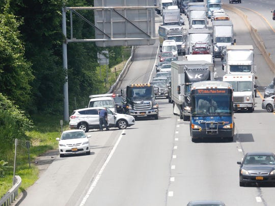 A multi-vehicle accident blocks eastbound Interstate