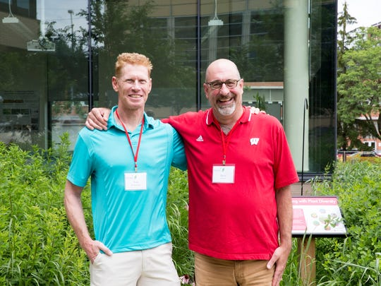 Tom Wanamaker of Appleton East High School, left, and Dean Simon of Kimberly High School attended a bioenergy workshop recently.