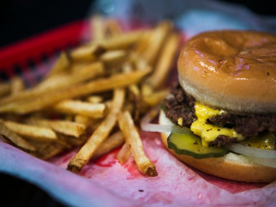 A double burger with fries at Dyer's Burgers on Beale