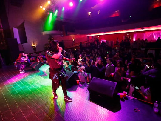 Headliner Prima J perform for attendees during the eighth annual Salinas Valley Pride After Party at the Fox Theater on Saturday, October 7, 2017 in Salinas, Calif. Vernon McKnight/for The Californian