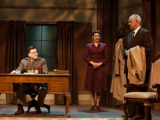 "From left, Patrick Vest stars as Major Arnold, Tara Donovan plays Emmi Straube and Peter Van Norden stars as German composer Wilhelm Furtwängler in the Rubicon Theatre Company's production of ""Taking Sides."""