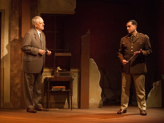 "Peter Van Norden, left, stars as German composer Wilhelm Furtwängler and Patrick Vest stars as Major Arnold in the Rubicon Theatre Company's production of ""Taking Sides."""