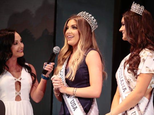 Miss Louisiana USA Bethany Trahan speaks during the