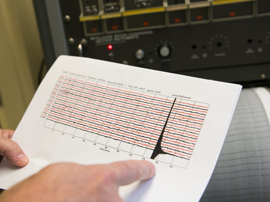 Peter McLaughlin Jr., senior scientist at the Delaware Geological Survey at University of Delaware shows the seismic recording of yesterday's earthquake.