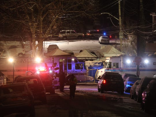 """Police activity on the scene of a fatal police shooting on Aqueduct Ave in Yonkers Dec. 15, 2017.  A man was shot and killed this evening while the Federal Bureau of Investigation and the Yonkers Police Department conducted """"law enforcement"""" activity, the FBI said in a statement."""