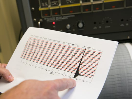 Peter McLaughlin Jr., a senior scientist at the Delaware Geological Survey at the University of Delaware, shows the seismic recording of the Nov. 30, 2017, earthquake in Delaware.
