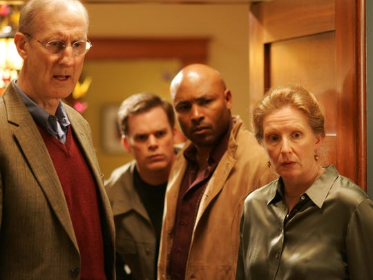 "James Cromwell, Michael C. Hall, Mathew St. Patrick, and Frances Conroy in ""Six Feet Under."""