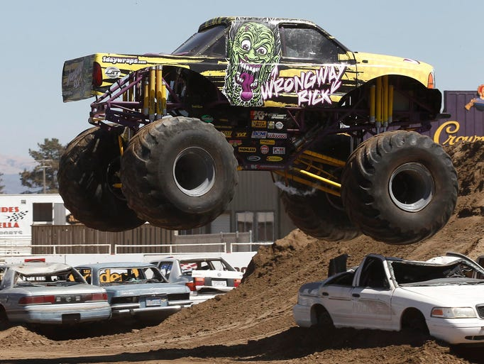 Monster truck Wrong Way Rick performs high-flying action during the 5th annual Central Coast Motorsports Spectacular at the Salinas Sports Complex, Sunday, August 17, 2014 in Salinas, Calif.