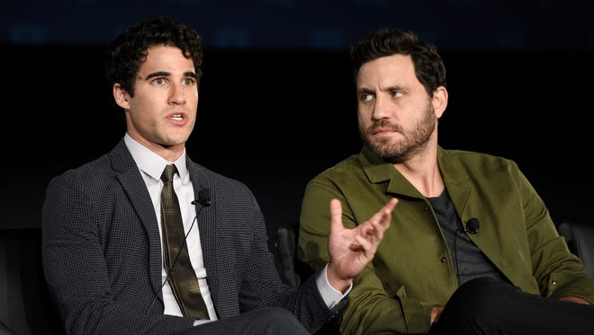 Edgar Ramirez, right, plays Gianni Versace and Darren Criss plays his killer, Andrew Cunanan, in FX's 'The Assassination of Gianni Versace: American Crime Story.'