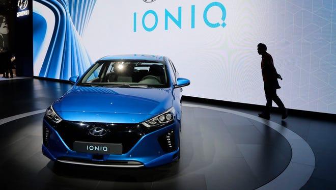 The 2017 Hyundai Ioniq Electric on display