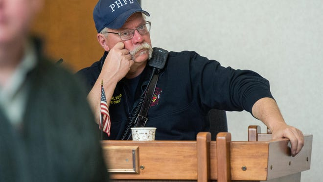 Peoria Heights Fire Chief Greg Walters listens during a question-and-answer session with Mayor Mike Phelan on Monday, Feb. 17, 2020, at the village hall.