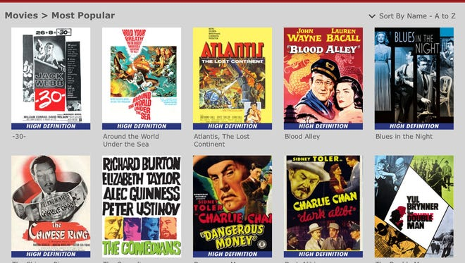 A menu on Warner Archive Instant app for iPads.