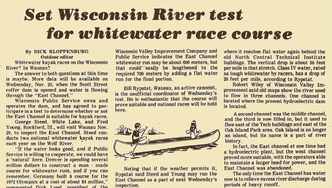 The original newspaper article published by The Daily Herald on November 15, 1974 covering the course's first run.
