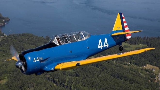 The T-6 Texan that Bravo 369 is using the re-create the Lend-Lease route from Great Falls to Russia.