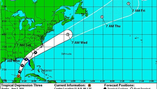 Forecast cone for tropical depression three