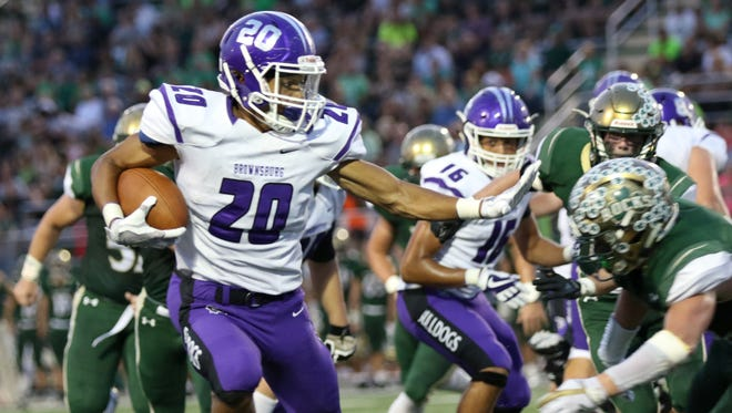 Brownsburg High School running back Donny Marcus had 177 rushing yards and two touchdowns on 17 carries in his team's 41-7 victory over Westfield.