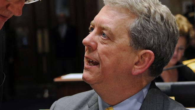 Senate Democratic Caucus Chair Dorsey Ridley, D-Henderson, at right, confers with Sen. Tom Buford, R-Nicholasville, on the floor of the Kentucky Senate this week. Ridley officially began his duties as caucus chair on Tuesday when the 2017 Legislative Session convened. As the newly-elected caucus chair, he joins the Democratic Leadership Team that includes Ray S. Jones, D-Pikeville, as Democratic Leader and Julian M. Carroll, D-Frankfort, as Democratic Whip.