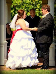 Barber officiated Melinda and Cameron Ellis' wedding on Aug. 3, 2013 in Bush's Pasture Park.
