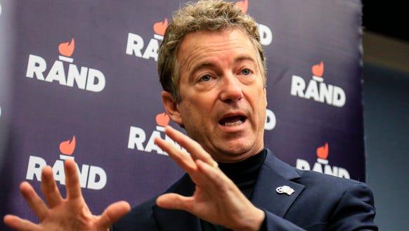 Sen. Rand Paul, R-Ky.,  speaks to reporters following