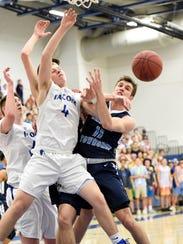 Falcon Logan Horn and Manheim's Brendan Mellott struggle