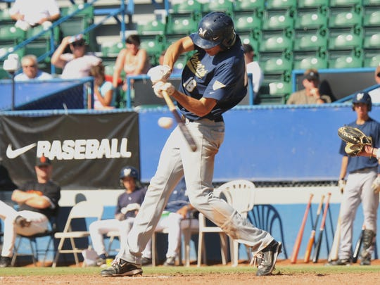 Christian Yelich played in the Area Code Games in California in high school, where he wore Brewers gear, like this batting helmet.