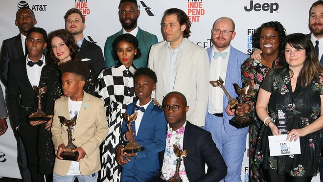 The cast of Moonlight poses in the press room at the 2017 Film Independent Spirit Awards, in Santa Monica, California, on February 25, 2017.