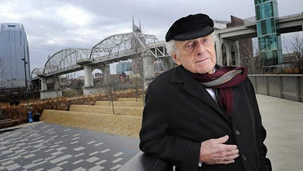 The Shelby Avenue pedestrian bridge, in the background Feb. 14, 2014, will be named for Tennessean Chairman Emeritus John Seigenthaler, who once talked a man out of jumping off of it. Metro Mayor Karl Dean will propose the change to the Metro Council in the next few weeks.