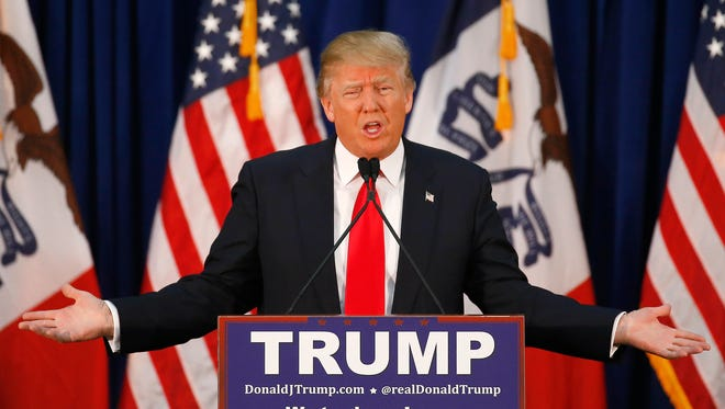 Donald Trump speaks during a campaign event in Waterloo, Iowa, on Feb. 1, 2016.