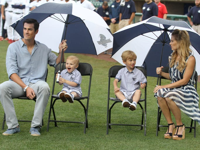 Cole Hamels with his sons Braxton, 2,  Caleb, 4 and wife Heidi, during ceremony by the  Lakewood  BlueClaws to retire his number at FirstEnergy park.   June 7, 2014, Toms River Photo by Robert Ward