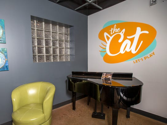 The Cat logo in the theater's lobby, photographed in