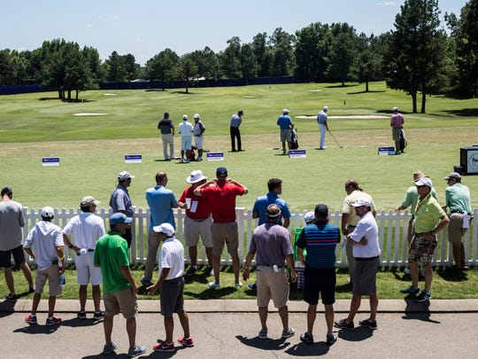 June 9, 2017 - Fans watch as players hit on the practice range during the second round of play of the 60th annual FedEx St. Jude Classic at TPC Southwind.