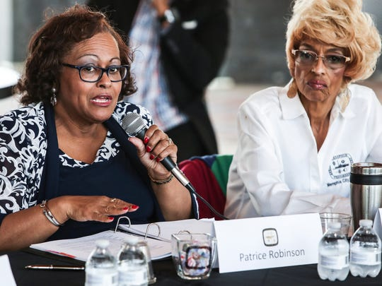 March 01, 2018 - Councilwoman Patrice Jordan Robinson, left, speaks during a joint public meeting with the Memphis City Council and the Shelby County Commission at Beale Street Landing. The agenda included talking about suspended driver's licenses and sustainable prekindergarten legislation among other topics.