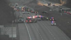 A vehicle traveling eastbound in a westbound Interstate 74 lane collided head-on with another vehicle Thursday afternoon.