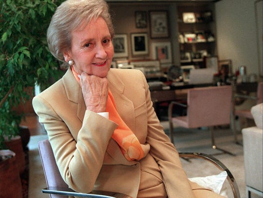 Katharine Graham is interviewed in her Washington office