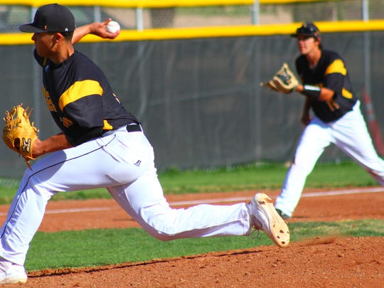 Alamogordo junior pitcher Gavin Guerra releases a pitch Friday afternoon.