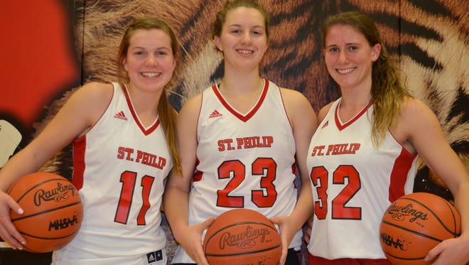 The 2017-18 St. Philip girls basketball team will feature returners, from left, Kirstin Finnila, Abbie Lahr and Sarah Guzzo.