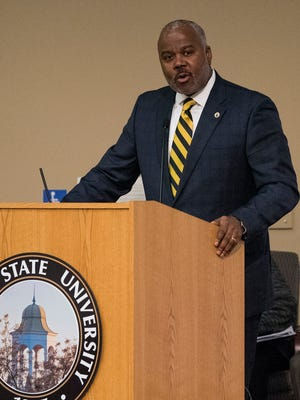 Alabama State University President Quinton Ross during a presentation on the Marion Nine at the ASU campus in Montgomery, Ala. on Tuesday November 21, 2017.